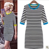 Free shipping 2013 autumn fashion star style o-neck slim stripe color block half sleeve knee-length dresses one-piece dress