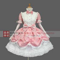 Free Cosplay Snow White princess costume dress split sleeve pink maid costumes DS costumes