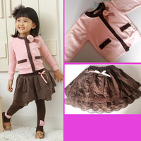 Recommend 2013 Fall New Clothes Girl's 2PC Sets Clothing Suit Sweater+ Skirt Korea Design Princess Party Clothes Free a0176