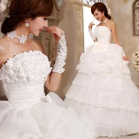 2013 sweet princess wedding dress Love wedding flower bow bride wedding Free Shipping
