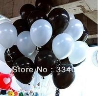 "100pcs Wholesale White/Black Mixed 10"" Pearl Round Latex Balloons Party Wedding Birthday Decorative"