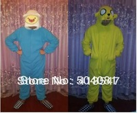 Adventure time 2set/lot  Finn and Jake Promotion! Kigurumi Pyjamas Cosplay Costume Fleece Lovely Winter Pyjamas Adult Sleepsuit