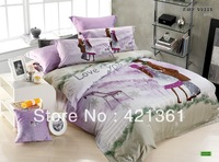 Cozy cottage  100% cotton king queen bed set  duvet cover sheet pillowcases luxury gift  Reactive printing bedclothes 46