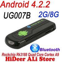 Free shipping Promotion RK3188 Quad Core UG007B Android Mini PC TV stick 2GB RAM 8GB ROM MP XBMC Google TV Dongle