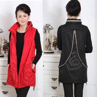 2013 quinquagenarian autumn female vest casual long design clothes the middle-age women spring and autumn vest