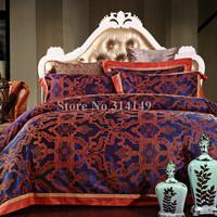 Free Shipping,Jacquard satin cotton blue geometric modern pattern 4pcs Full/Queen/King comforter/duvet covers bedding sets