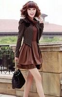 Top Quality ! New 2013 Autumn -Summer Fake Two Cotton Dress Was Thin Long-Sleeved Knit Dress Black/Coffee