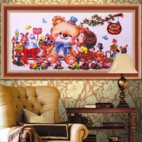 Hot new pattern diy hand made Ribbon embroidery kits big paintings 40*75cm  cross stitch cartoon printing needlework unfinish