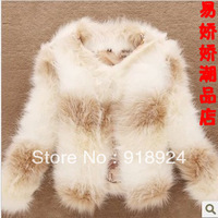 2013 women's artificial leather outerwear fox slim short jacket fur coat
