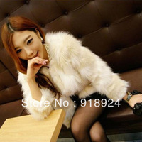 2013 color block decoration faux fur faux wool short jacket
