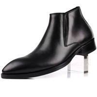 Winter shoes pointed toe boots foot wrapping fashion high-top shoes cowhide small pointed toe leather popular black