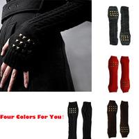 2013 fashion men women's New Hot winter style warm knitting semi-finger gloves metal rivet decoration long gloves Black
