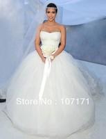 Custom-made Kim Kardashian Wedding Dress Strapless Lace Bodice Tulle Ball Gown Wedding Gown