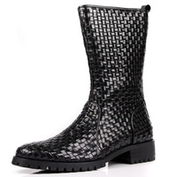 Cowhide high boots cowhide taojian zipper boots slip-resistant thickening popular fashion boots