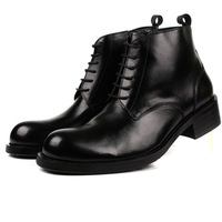 Commercial tooling boots cowhide round toe the loggerhead leather lacing cowhide genuine leather winter high-top shoes