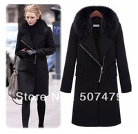 Free Shipping, Winter Warm Women New Style Fashion Oblique Zipper Slim Long Sleeve Turn-Down Collar Wool Coat with Real Fur
