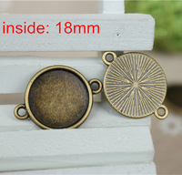 Free Shipping -100 pcs/lot Cabochon Settings Antique Bronze Round Cameo Cabochon Base Charm Connectors -2 Link -Inside 18mm
