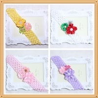 12pcs/lot free shipping Christmas headband for girls hair accessories handmade flower head wear beautiful crochet headbands