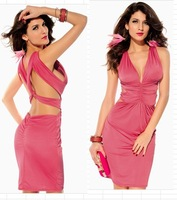 2013 sexy deep V-neck slim hip sexy one-piece dress fashion lady night club wear evening dress