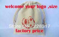 8*14cm customize bag 100% cotton print logo gift bag drawstring bag packaging pouches customized food bags