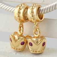 Cheap 925 Sterling Silver European Beads Plated Gold, Fashion European Jewelry Making GP037