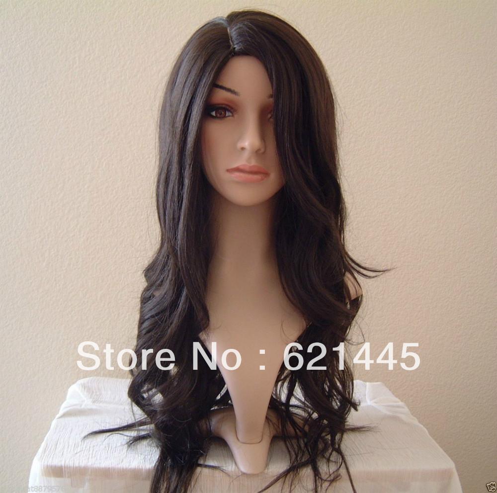 Extra Long Wavy Dark Brown Lady Salon Wigs Hair Care China Mainland