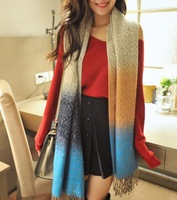 Free Shipping! 2013 New Winter! Oversized Fashionable Warm Women Shawl Scarf Stripe Tassel Scarf Shawl, L-375