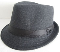 Free Shipping Brand New Mens Soft Gray Classic Vintage Fedora Cotton Hats Trilby Caps Narrow Brim Bands