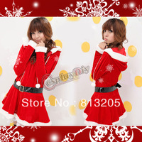 Free Shipping Sweet Hooded Style Long sleeve Knee-length Red Christmas Dress Costume With Black Belt For Adult Women