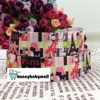 "2013 new arrival 7/8"" (22mm) Eiffel Tower paris printed grosgrain ribbon cartoon ribbon hair accessories wholesale 100 yards"