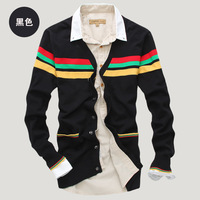 Male sweater men's clothing slim V-neck stripe knitted outerwear thin cardigan male