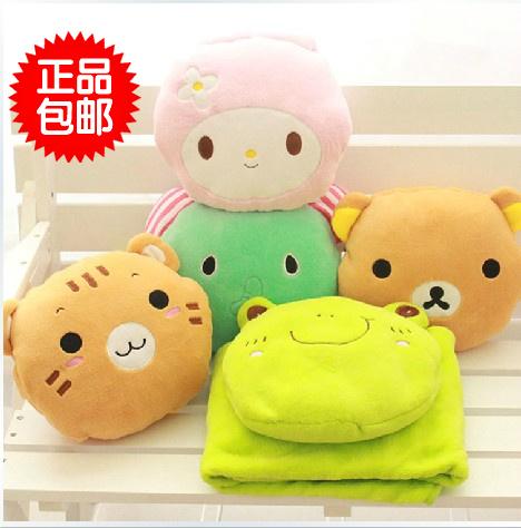 Animal dos desenhos animados travesseiro mão mais quente ar condicionado cobertor plush toy boneca de pano de presente de aniversário feminino(China (Mainland))