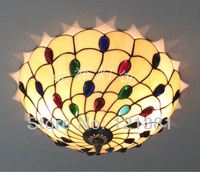 "Elegant Tiffany Style Peacock Ceiling Lamp Bedroom Stained Glass Lampshade Handcrafted Lighting Fixtures 16""Wide Colorful Beads"
