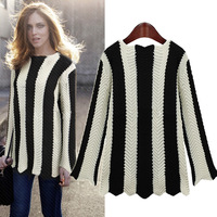 Europe 2013 new winter thick black and white stripes wild bottoming loose knit sweater