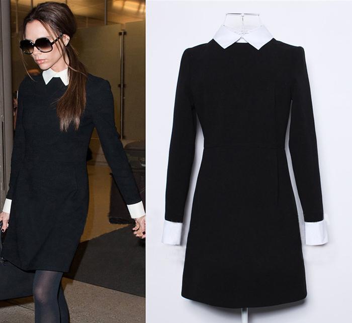 Купить Черное Платье С Белым Воротником И Манжетами