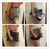 Soft PU Leather Large day clutch vintage leopard print black color block decoration folding day clutch envelope bag female bags