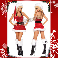 Free Shipping Hot Sexy Backless Red Christmas Dress Costume For Adult Women