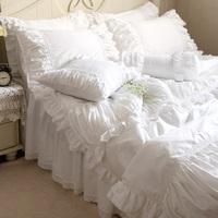 Luxury White Ruffle Bedding White Ruffle Comforter White Bedding Holiday Bedding Lace Cotton Bedding Set Queen