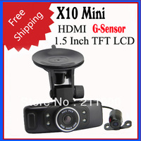 2013 NEW Arrival X10 Dual Lens HD 720P 1.5 Inch TFT LCD Car DVR Camera with Seperate Lens, HDMI, G-sensor - Black