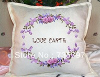 Free shipment 3D cross stitch sets,diy  Ribbon embroidery pillow cushion sets cross stitch needlework not finished