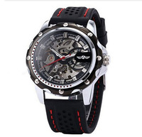 Steampunk Skeleton Winner Sport Black Silicone Automatic Mechanical Men Watches
