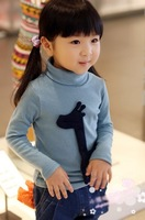 Girls do not fall wild thick velvet long-sleeved turtleneck shirt bottoming 3-4-5-6-7-8 years