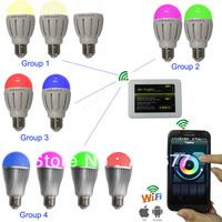Free shippping 1 pc 9w bulb and 1 pc WIFI Control as a set 9w WIFI Control led RGBW bulb