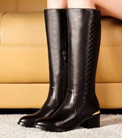 CooLcept Free shipping half ankle short natrual real genuine leather boots women snow boot high heel shoes R2673 EUR size 33-40