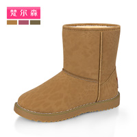 Free Shopping 2013 winter snow boots female boots leopard print short thermal cotton boots