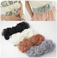 Gift New 2014 Hot Sales Double flower cummerbund female chiffon elastic decoration wide belt all-match rose belt