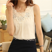 Women floral embroidery t shirt blouse fashion sleeveless chiffon blouses summer  women clothing plus size XXL blusa renda
