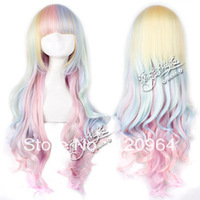 Wholesale Imitation human high Kanekalon Hair Wigs 80cm lolita culy wave long cosplay costume wig