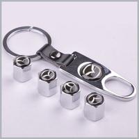 1 set x Silver New Style Chrome Metal Car Tire Wheel Rims Stem Valve CAPS with KeyChain Key Chain For Car 1 set = 4pcs