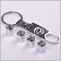 1 set x Silver New Style Chrome Metal Car Tire Wheel Rims Stem Valve CAPS with KeyChain Key Chain For Mazda 1 set = 4pcs